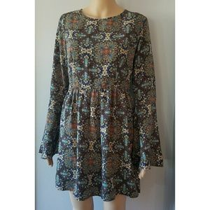 One clothing Floral Midi Long Sleeve Dress Size L